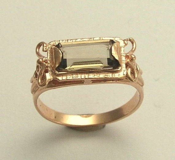 Rose gold smoky quartz ring