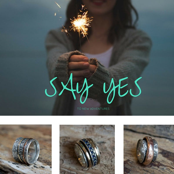 Engagement wedding bands, Alternative silver ring, opal ring, gemstone ring, spinners ring, wide silver band - Just the two of us R2130