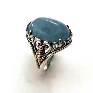 Aquamarine Gypsy sterling silver yellow gold Oval ring