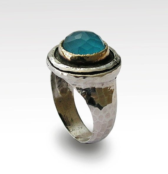 Blue quartz silver gold ring