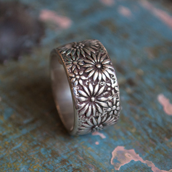Silver wedding ring, Silver gold ring, floral ring, nature ring, botanical ring, two tones ring, boho band, botanical ring - Glam R2077G
