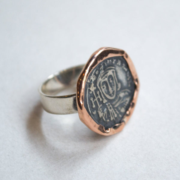 Coin ring, Rose gold silver ring, boho ring, gypsy ring, hippie ring, ethnic ring, two-tone ring, tribal ring, silver ring - Epic  R2270