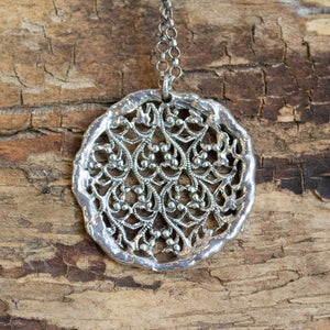 Lace necklace, Sterling silver pendant, round large pendant, casual necklace, statement necklace, simple necklace - Silver Lace N4687