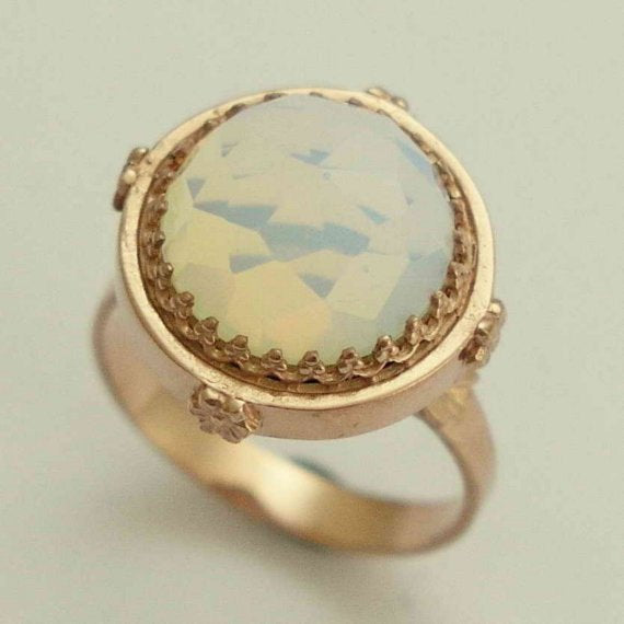 Solid rose gold engagement ring, moonstone ring, gemstone ring, cocktail ring, engagement ring, alternative ring - Snow white RG1247-1