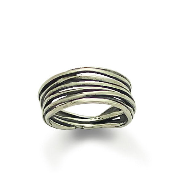 Wrapped silver band, Stone ring, Sterling silver ring, mixed metals ring, silver gold band, opal ring, two tone ring - Good times R1512GX