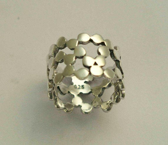 Casual ring, Sterling silver ring, Dotted Ring, wide silver band, shiny silver ring, dots bands, simple wedding band - Yet to discover R1176