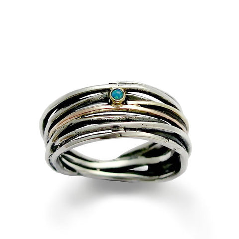 Wedding engagement band, gemstone ring, wire wrap ring, simple silver ring, opal jewelry, boho ring, boho chic jewelry - Good times R1512GX
