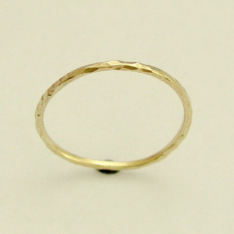 Simple gold Band, minimal yellow gold ring,  wedding ring, thin hammered 14k gold band, stacking gold band, simple gold band - Smile RG1595