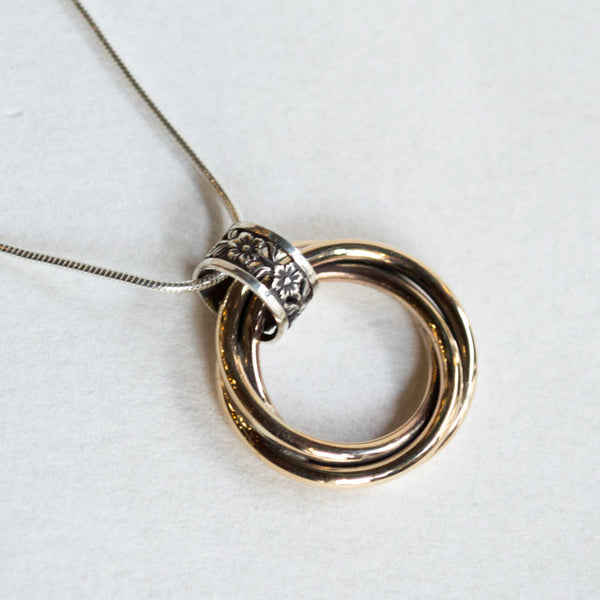 Twotone pendant, Silver Gold necklace, circles pendant, modern jewelry, unique necklace, boho chic necklace, simple necklace - Endorse N2019