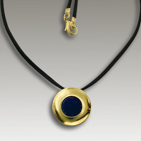 Solid Gold  lapis disc pendant, black leather 14k gold necklace - Midnight Sky NG0029