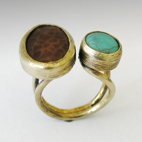 Adjustable ring, bohemian jewelry, Brass ring, turquoise Ring, two stones ring, statement ring, cocktail ring - Don't ever change RK1762