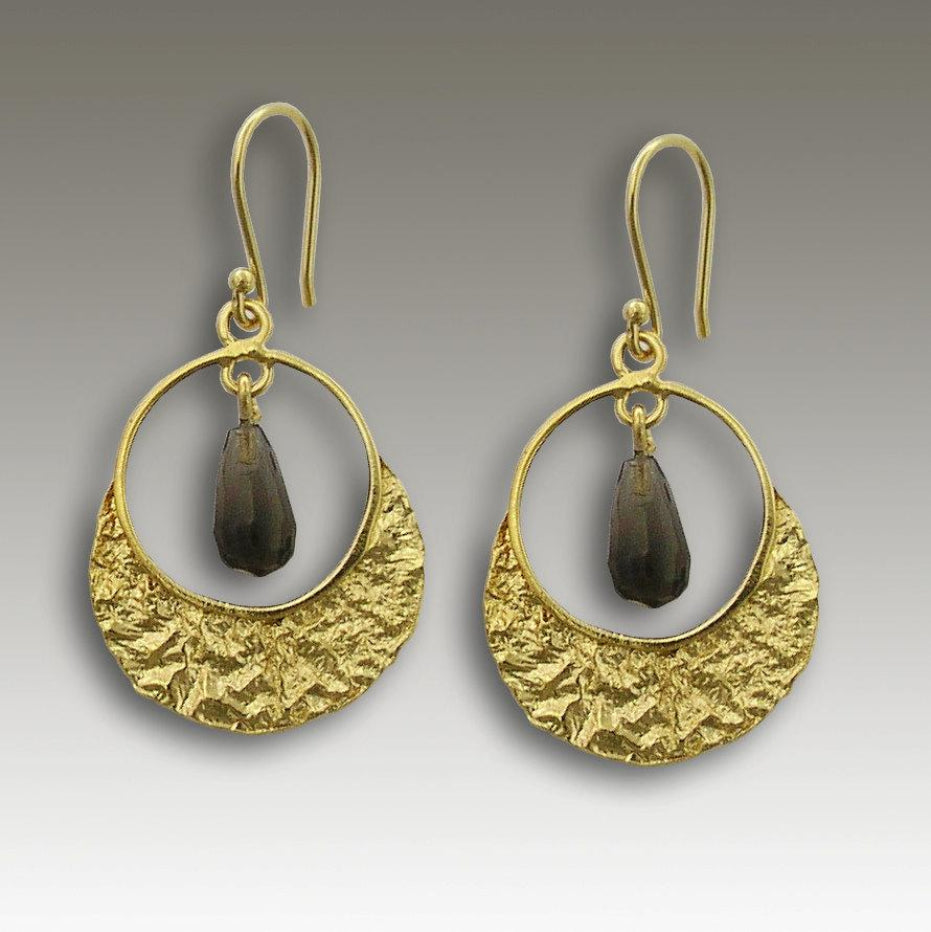 14K gold smoky quartz droplet earrings