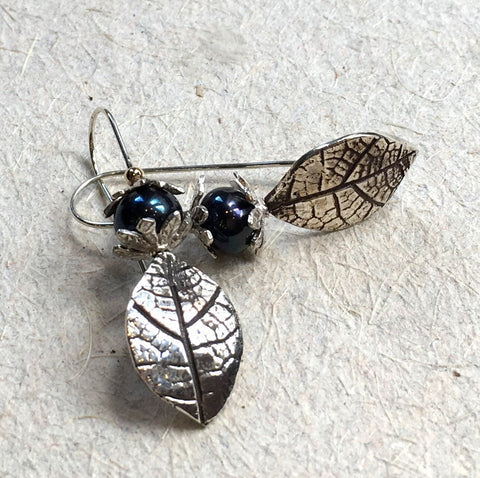 Sterling silver leaf earrings, woodland earrings, botanical long earrings, lapis earrings, blue stones earring - fall abstraction E8038