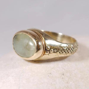 Prehnite Gemstone Golden Brass Boho Ring - Thankful RK2621