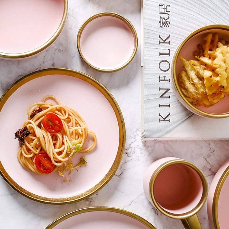 Matte Pink with Gold Rim Dinnerware Set