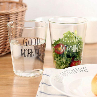 Two Simple Good Morning Glasses 400ml for water