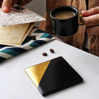 Beveld - Black & Gold Ceramic Cup Mats