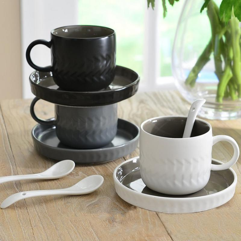 Simple Retro Ceramic Cups with saucers and spoon