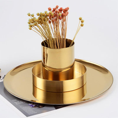 Beveld - Gold Round Vase or Pen Holder