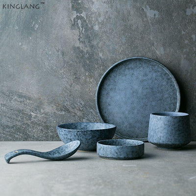 Stylish Blue Ceramic Dinnerware set pics 2