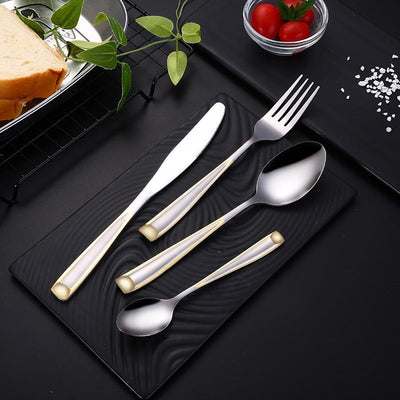 Beveld - Silver Gold Insertion Cutlery Set