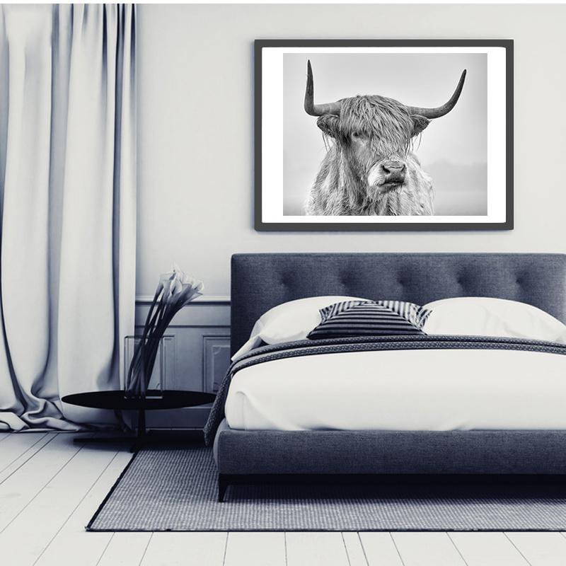 Beveld - Nordic Portrait of a Highland Cow Canvas