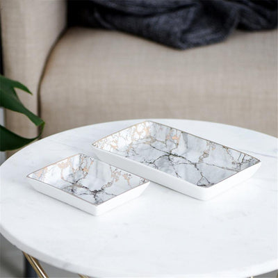 Beveld - Abstract Ceramic Tray - Marble with Gold Insertion