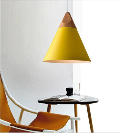 Scandinavian Wooden Pendant Lights yellow