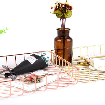 Scandinavian Rose Gold Metal Storage Basket rose and gold colour