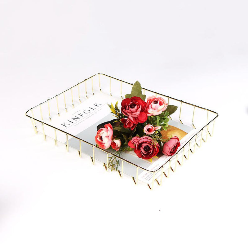Scandinavian Rose Gold Metal Storage Basket rose and gold