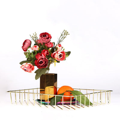 Scandinavian Rose Gold Metal Storage Basket gold