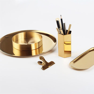 Scandinavian Metal Gold Style Tray pics 2