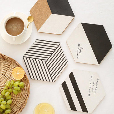 Simple Black White Wood Drink Mat different models