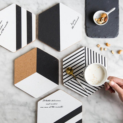 Simple Black White Wood Drink Mat