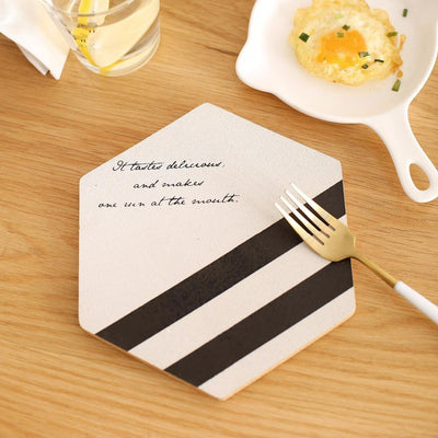 Simple Black White Wood Drink Mat type one