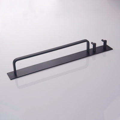 Beveld - Black Aluminium Towel Bar with Double Hooks