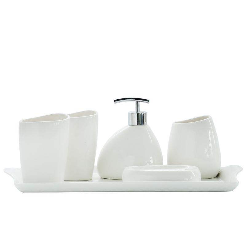 White Ceramic Bathroom Set 5 type of pieces
