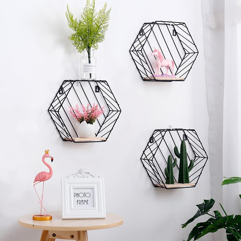 Wood & Iron Hexagon Art Shelf