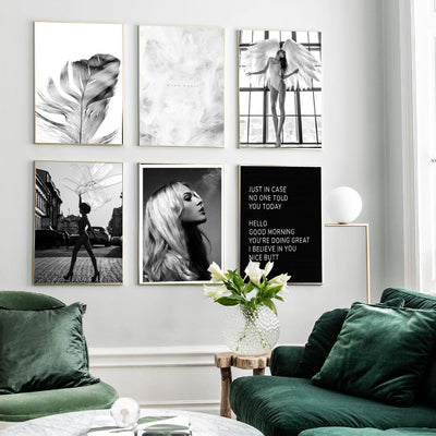 Beveld - Feather Quote Fashion Girl Canvas