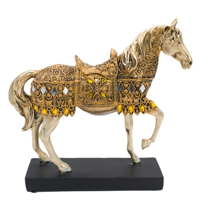 Beveld - Golden Trotting Horse Statue Office Decor