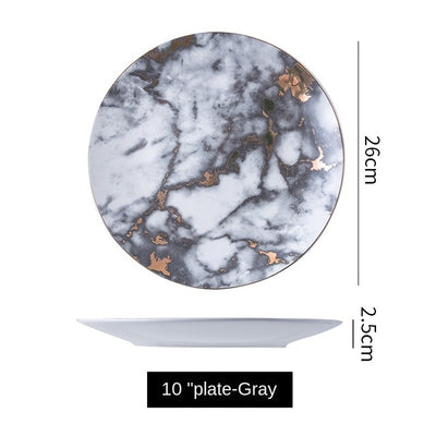 Beveld - Marble pattern home dining plate