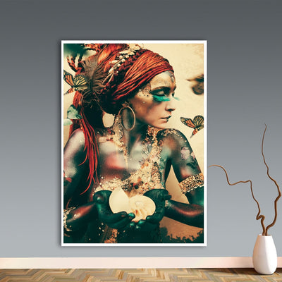Beveld - Priestess Women Portrait Butterfly Wall Art Canvas