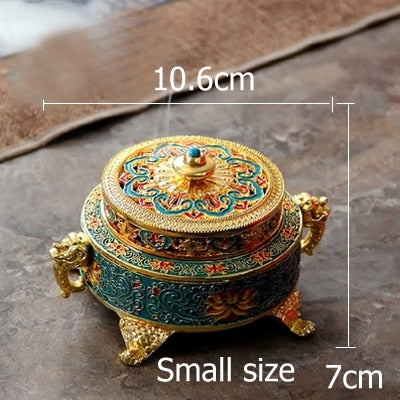 Beveld - Burner Metal Tibetan Style Painted Enamel Incense Holder