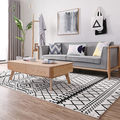 Beveld - Black and white geometric pattern carpet rug