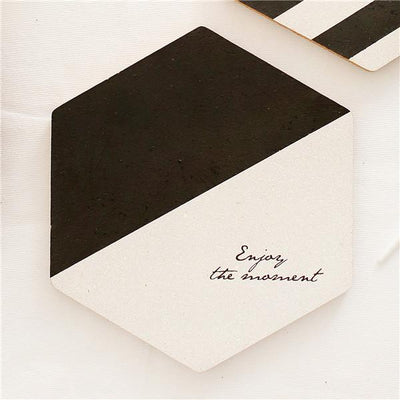 Simple Black White Wood Drink Mat model two