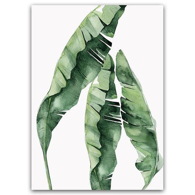 Beveld - Watercolor Plant Green Leaves Canvas