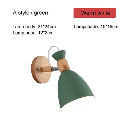 Nordic Creative Wall Bedside Lamp green type A
