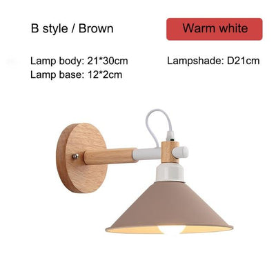 Nordic Creative Wall Bedside Lamp brown type B