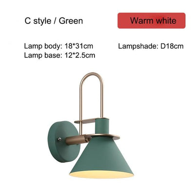 Nordic Creative Wall Bedside Lamp green type C