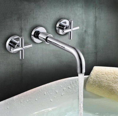 Beveld - Double Handle Wall Mounted Bathroom Sink Faucet